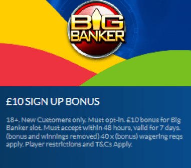 CoralカジノでBig Bankerで入金不要ボーナスの£10