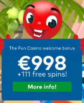 Fun Casinoで11入金フ不要のフリースピン+ウェルカムパッケージの最大€998+100フリースピン