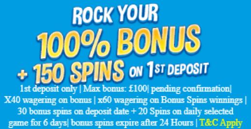 WinOManiaで初回入金ボーナスの150%最大£100+150フリースピン