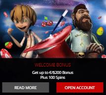 Magic Red Casinoでウェルカムパケッージの100%最大$200+100フリースピン