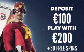 Rizk Casinoで初回入金ボーナスの100%最大€100+50賭けないフリースピン