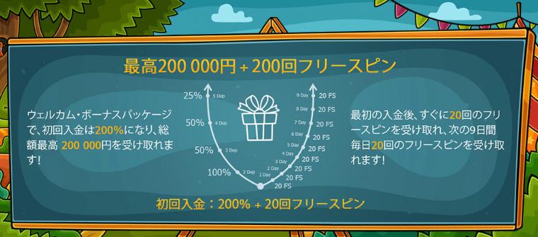 Casino Xでウェルカムパケッージの最大200000円+200フリースピン