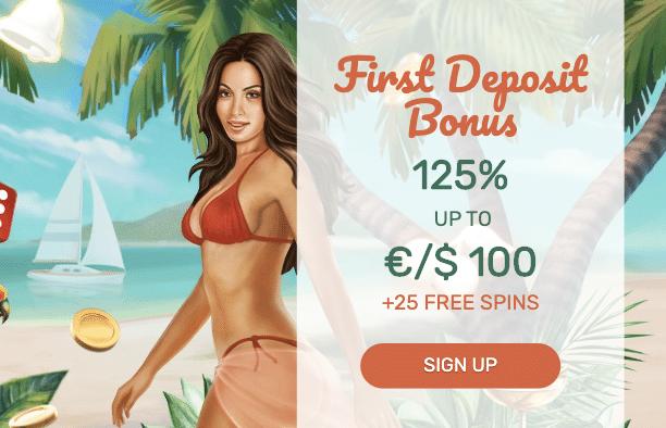 ♦ Paradise Casinoで初回入金ボーナス:125%最大$100+25フリースピン