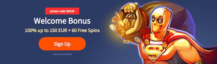 ♦ Slotmanで100%初回入金ボーナス最大€150+Slotmanで60フリースピン