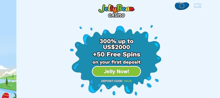 ♦ JellyBean Casinoで初回入金ボーナス:300%最大$2000+50フリースピン